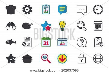 Chief hat and cooking pan icons. Fish and chicken signs. Boil or stew food symbol. Chat, Report and Calendar signs. Stars, Statistics and Download icons. Question, Clock and Globe. Vector