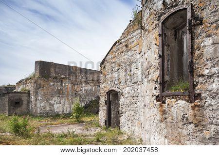 Empty Windows Of Abandoned Concrete Bunker