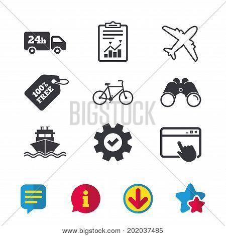 Cargo truck and shipping icons. Shipping and eco bicycle delivery signs. Transport symbols. 24h service. Browser window, Report and Service signs. Binoculars, Information and Download icons. Vector