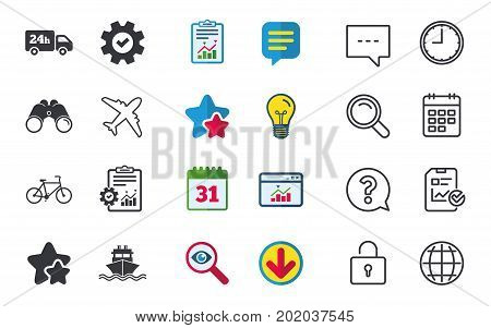Cargo truck and shipping icons. Shipping and eco bicycle delivery signs. Transport symbols. 24h service. Chat, Report and Calendar signs. Stars, Statistics and Download icons. Vector