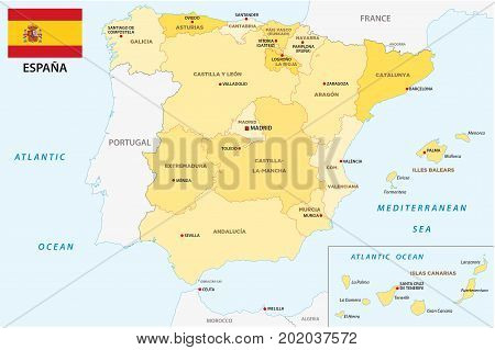 spain administrative and political vector map with flag