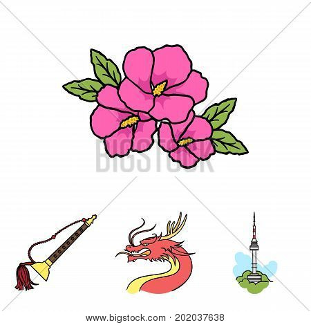 Dragon with mustache, Seoul tower, national musical instrument, hibiscus flower. South Korea set collection icons in cartoon style vector symbol stock illustration .