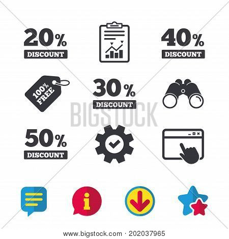 Sale discount icons. Special offer price signs. 20, 30, 40 and 50 percent off reduction symbols. Browser window, Report and Service signs. Binoculars, Information and Download icons. Stars and Chat