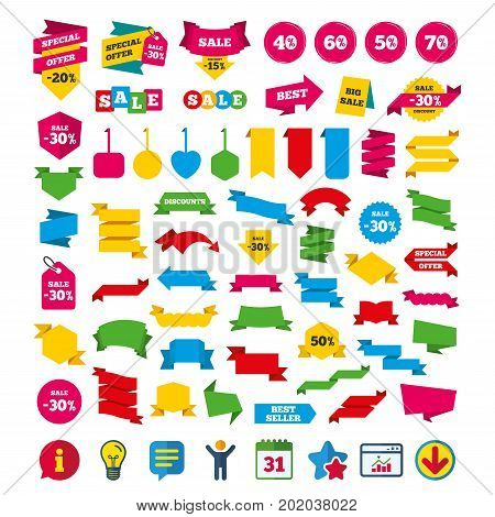 Sale discount icons. Special offer price signs. 40, 50, 60 and 70 percent off reduction symbols. Shopping tags, banners and coupons signs. Calendar, Information and Download icons. Vector