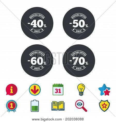 Sale discount icons. Special offer stamp price signs. 40, 50, 60 and 70 percent off reduction symbols. Calendar, Information and Download signs. Stars, Award and Book icons. Vector