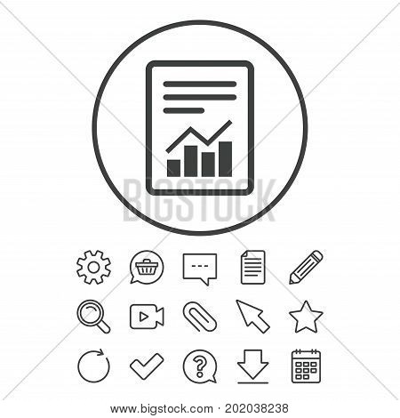 Text file sign icon. Add File document with chart symbol. Accounting symbol. Document, Chat and Paper clip line signs. Question, Pencil and Calendar line icons. Star, Download and Shopping cart
