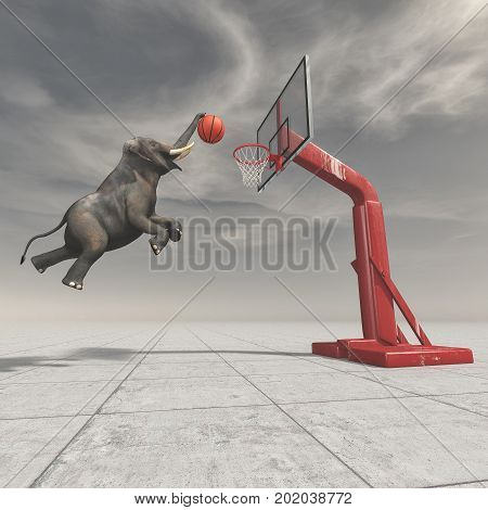 An elephant throws the ball at the basket. This is a 3d render illustration.