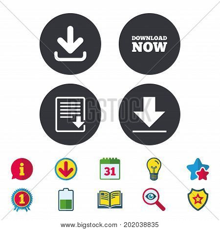 Download now icon. Upload file document symbol. Receive data from a remote storage signs. Calendar, Information and Download signs. Stars, Award and Book icons. Light bulb, Shield and Search. Vector