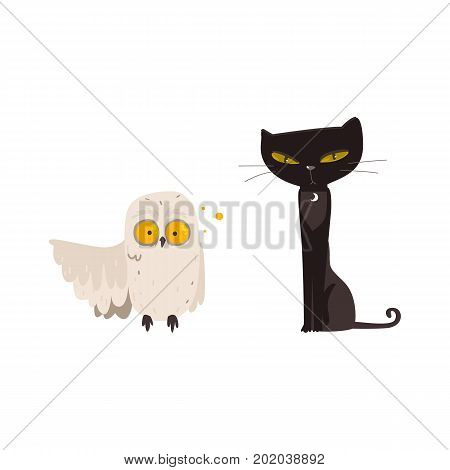 Spooky black cat and crazy looking owl, familiar spirits, animal guides, cartoon vector illustration isolated on white background. Cartoon black cat and white owl, Halloween decoration elements