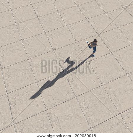 Top view of a woman running. This is a 3d render illustration.