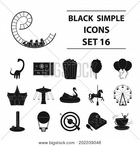 Carousel, shooting range, slides, cotton wool and other attributes.Amusement Park set collection icons in black style vector symbol stock illustration .