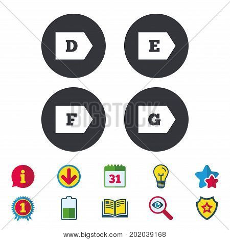 Energy efficiency class icons. Energy consumption sign symbols. Class D, E, F and G. Calendar, Information and Download signs. Stars, Award and Book icons. Light bulb, Shield and Search. Vector