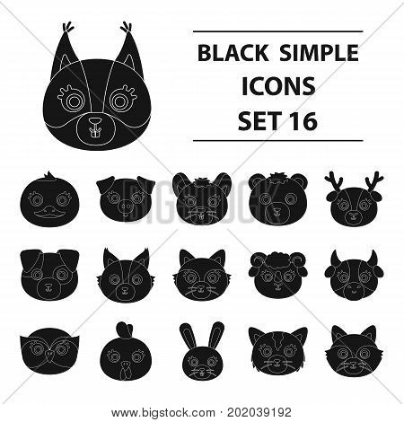 Animal muzzle set icons in black design. Big collection of animal muzzle vector symbol stock illustration