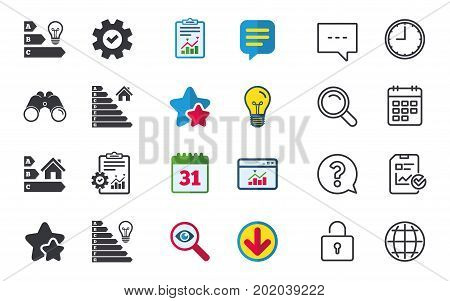 Energy efficiency icons. Lamp bulb and house building sign symbols. Chat, Report and Calendar signs. Stars, Statistics and Download icons. Question, Clock and Globe. Vector