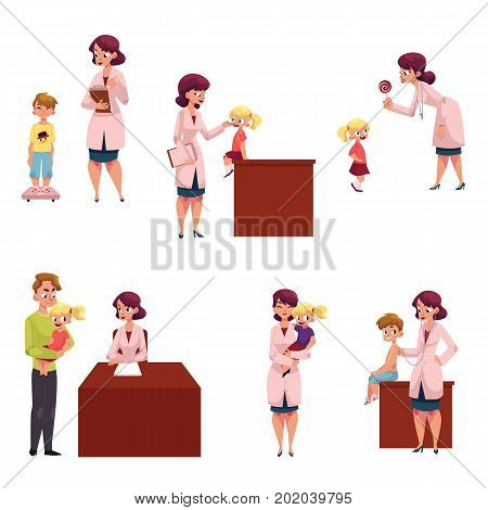 Set of woman pediatrician, doctor doing medical exam, checkup for kids, children, cartoon vector illustration isolated on white background. Set of kids, children and young woman doctor, pediatrician