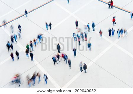 Blured Motion Of Multitude People