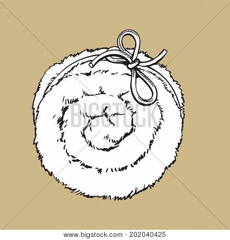 Top view of rolled up fluffy green towel, spa salon accessory, black and white outline vector illustration on color background. Realistic hand drawing of towel roll, spa salon accessory