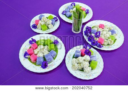 Traditional Thai Desserts , Colorful Of Thai Steamed Layer Cake In Cube And Rose Shape,call Khanom C