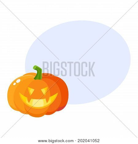 Laughing, grinning pumpkin jack-o-lantern with vampire teeth, Halloween symbol, cartoon vector illustration with space for text. Pumpkin lantern with grinning face, Halloween decoration poster