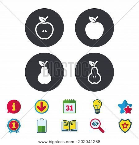 Fruits with leaf icons. Apple and Pear with seeds signs. Natural food symbol. Calendar, Information and Download signs. Stars, Award and Book icons. Light bulb, Shield and Search. Vector