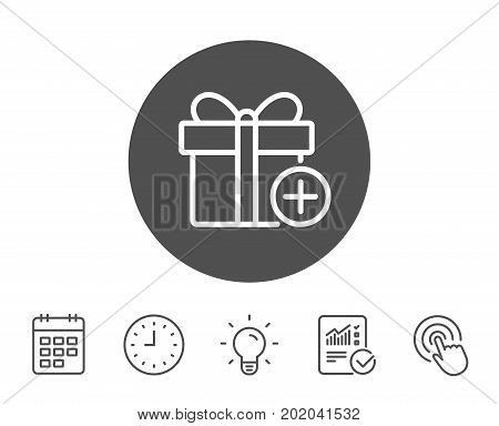 Add Gift box line icon. Present or Sale sign. Birthday Shopping symbol. Package in Gift Wrap. Report, Clock and Calendar line signs. Light bulb and Click icons. Editable stroke. Vector