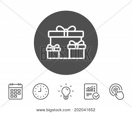 Gift boxes line icon. Present or Sale sign. Birthday Shopping symbol. Package in Gift Wrap. Report, Clock and Calendar line signs. Light bulb and Click icons. Editable stroke. Vector