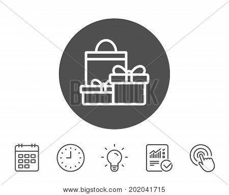 Gift boxes with bag line icon. Present or Sale sign. Birthday Shopping symbol. Package in Gift Wrap. Report, Clock and Calendar line signs. Light bulb and Click icons. Editable stroke. Vector