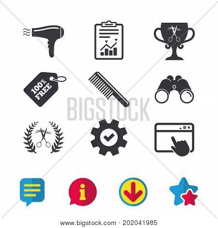 Hairdresser icons. Scissors cut hair symbol. Comb hair with hairdryer symbol. Barbershop laurel wreath winner award. Browser window, Report and Service signs. Vector