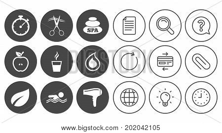 Spa, hairdressing icons. Swimming pool sign. Water drop, scissors and hairdryer symbols. Document, Globe and Clock line signs. Lamp, Magnifier and Paper clip icons. Question, Credit card and Refresh