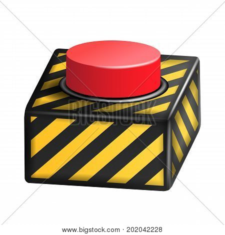 Panic Button Vector. Red Alarm Shiny Button Icon. Psychological Health Illustration