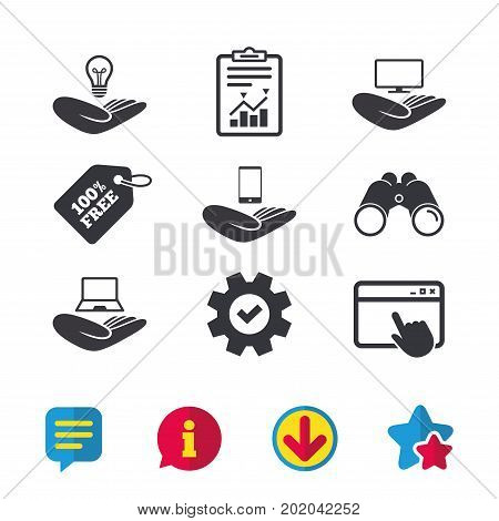 Helping hands icons. Intellectual property insurance symbol. Smartphone, TV monitor and pc notebook sign. Device protection. Browser window, Report and Service signs. Vector