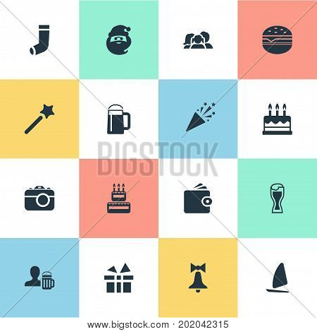 Elements Photo Camera, Wallet, Hosiery And Other Synonyms Half-Hose, Photo And Hosiery.  Vector Illustration Set Of Simple  Icons.