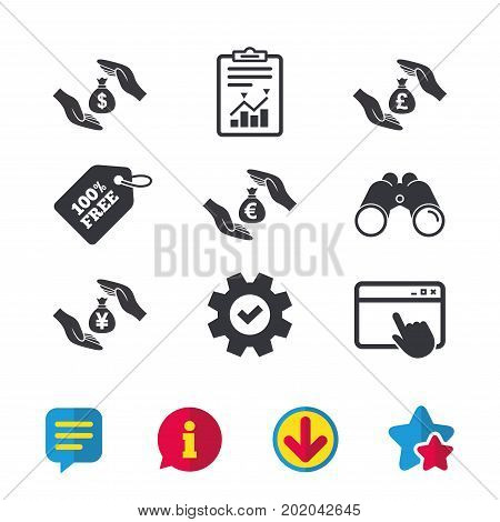 Hands insurance icons. Money bag savings insurance symbols. Hands protect cash. Currency in dollars, yen, pounds and euro signs. Browser window, Report and Service signs. Vector