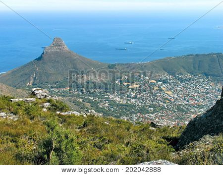 FROM CAPE TOWN, SOUTH AFRICA, VIEW OF LIONS HEAD AND SIGNAL HILL, FROM THE SUMMIT OF TABLE MOUNTAIN 38x