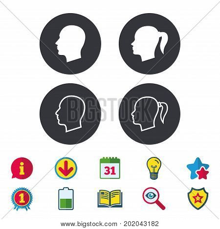 Head icons. Male and female human symbols. Woman with pigtail signs. Calendar, Information and Download signs. Stars, Award and Book icons. Light bulb, Shield and Search. Vector
