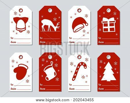 Christmas and New Year gift tags. Cards xmas set. Hand drawn elements. Collection of holiday paper label in red and white. Seasonal badge sale design. Texture. Print. Vector illustration. Lettering