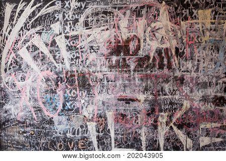 The school or university blackboard with threadbare chalk