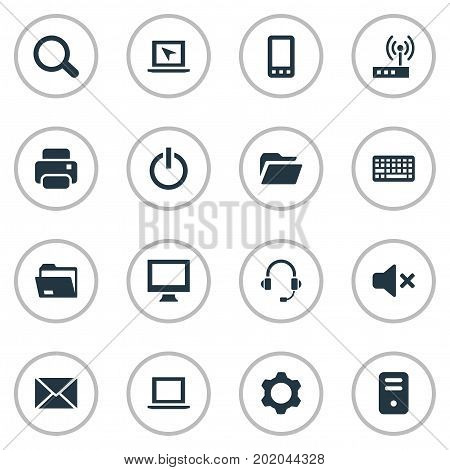 Elements Keypad, Cursor, Monitor And Other Synonyms Keypad, Microphone And Printer.  Vector Illustration Set Of Simple Computer Icons.