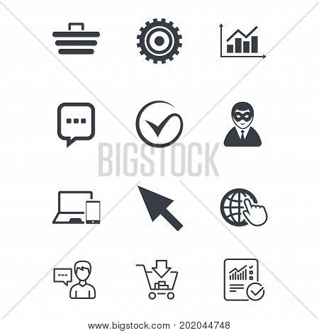 Internet, seo icons. Tick, online shopping and chart signs. Anonymous user, mobile devices and chat symbols. Customer service, Shopping cart and Report line signs. Online shopping and Statistics
