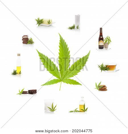 Cannabis and its usage. Marijuana leaf and edible marijuana products. Butter tea beer energy drink oil chocolate cookies and milk.