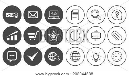 Internet, seo icons. Tick, online shopping and chart signs. Bandwidth, mobile device and chat symbols. Document, Globe and Clock line signs. Lamp, Magnifier and Paper clip icons. Vector