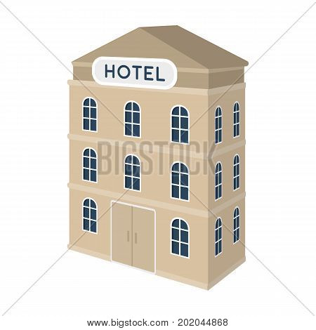 Three-storey hotel. Architectural building of the hotel single icon in cartoon style vector symbol stock illustration .