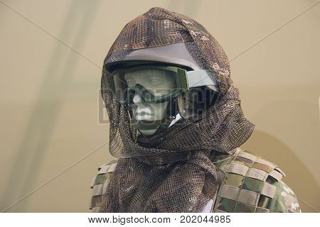 Mannequin in an army helmet and tactical goggles
