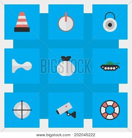 Elements Sniper, Military, Lifesaver And Other Synonyms Cone, Horns And Password.  Vector Illustration Set Of Simple Offense Icons.