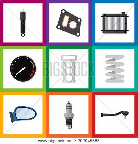 Flat Icon Auto Set Of Heater, Packing, Input Technology And Other Vector Objects