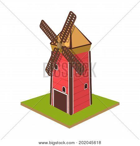 Windmill, single icon in cartoon style.Windmill vector symbol stock illustration .