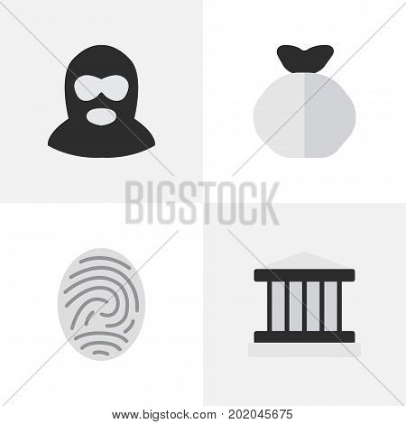 Elements Criminal, Bioskyner, Grille And Other Synonyms Court, Grille And Bag.  Vector Illustration Set Of Simple Crime Icons.