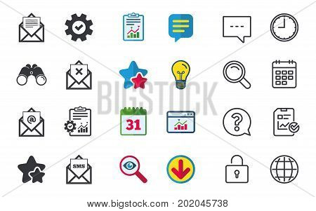 Mail envelope icons. Message document symbols. Post office letter signs. Delete mail and SMS message. Chat, Report and Calendar signs. Stars, Statistics and Download icons. Question, Clock and Globe