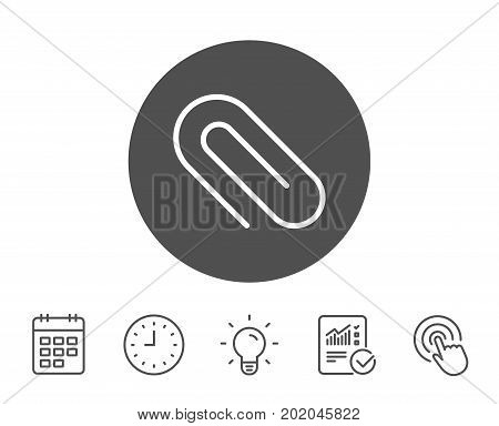 Attach line icon. Attachment paper clip sign. Office stationery object symbol. Report, Clock and Calendar line signs. Light bulb and Click icons. Editable stroke. Vector