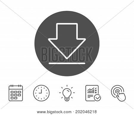 Download line icon. Internet Downloading sign. Load file symbol. Report, Clock and Calendar line signs. Light bulb and Click icons. Editable stroke. Vector